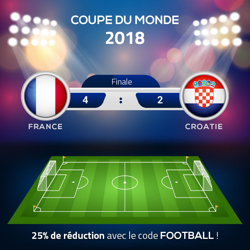 Coupe du monde 2018 - France vs Croatie - Profitez de 25% de réduction si la France gagne avec le code FOOTBALL