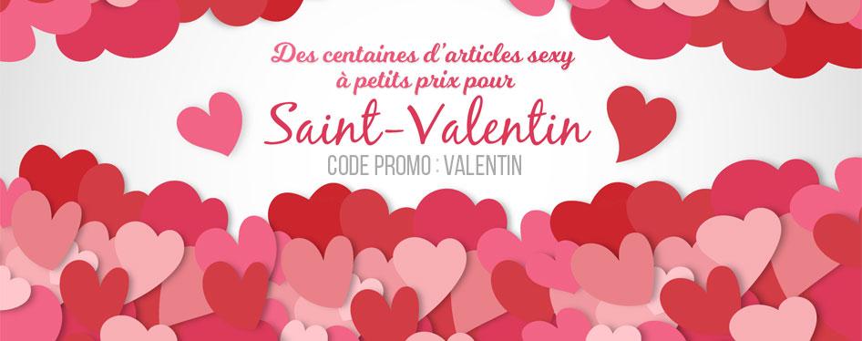 Saint-Valentin - Profitez de centaines d'articles sexy à petits prix pour la fête des amoureux ! Seul(e) ou en couple, faites-vous plaisir avec les 15% offerts sur tous les produits avec le code: VALENTIN